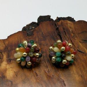 Vintage acrylic faux gem bold Spike cluster 90 odd